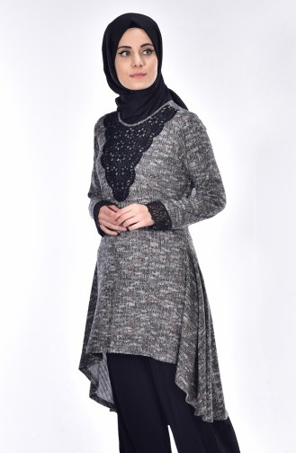 Asymmetrischer Pullover 1005-03 Rauchgrau 1005-03