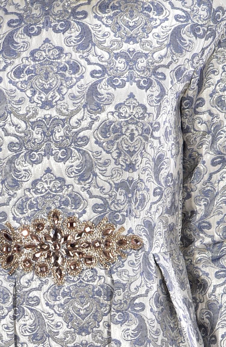 1cbdd5aec7520 فستان سهرة بتصميم الجاكار 0118-01 لون رمادي 0118-01