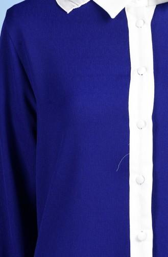 Tunique Garnie İmprimée 0910-01 Bleu Roi 0910-01