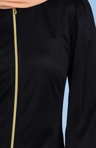 Abaya Detaillé de Dentelle 2021-02 Noir 2021-02