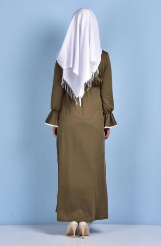 بيلي فستان بتصميم مزموم 1460-03 لون أخضر كاكي 1460-03