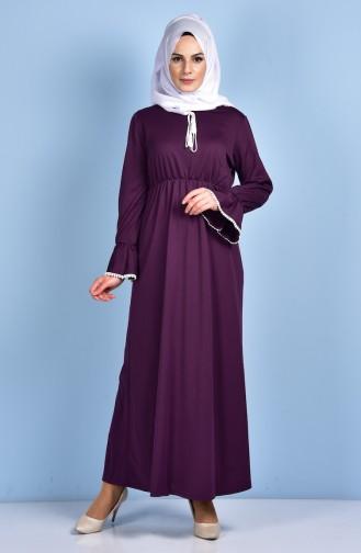Beli Büzgülü Elbise 1460-01 Mor 1460-01