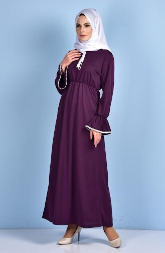 فستان بتصميم حزام خصر 1460-01 لون بنفسجي 1460-01