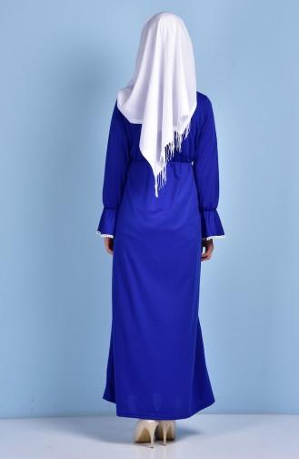 Beli Büzgülü Elbise 1460-02 Saks 1460-02