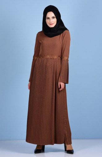 Pleated Dress 4123-13 Light Brown 4123-13
