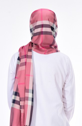 Plaid Patterned Shawl 60045-08 Dried rose 08
