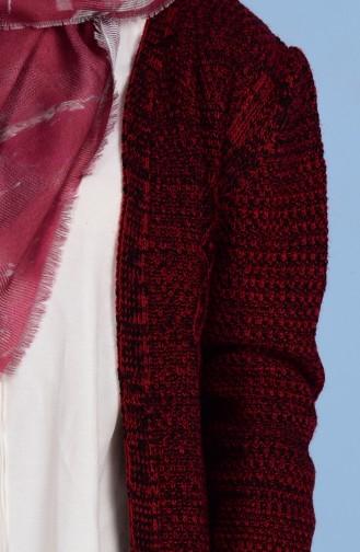 Gilet Tricot Détail Franges 1080-06 Rouge 1080-06