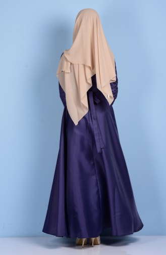 Dantelli Kuşaklı Abiye Elbise 5064-02 Koyu Lila