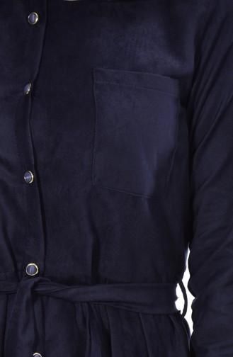 تونيك بتصميم حزام خصر 1003-03 لون كحلي 1003-03
