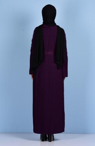Gefaltetes Kleid mit Gürtel 4123-10 Lila 4123-10
