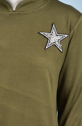 Taş Detaylı Triko Kazak 0103-04 Haki 0103-04