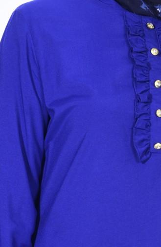Tunique Detail Boutons 1133-06 Bleu roi 1133-06