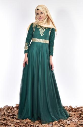 Robe de Soirée Bordée 0471-01 Vert emeraude 0471-01