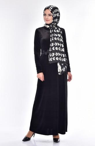 Dantel Detaylı Elbise 1002-04 Siyah 1002-04