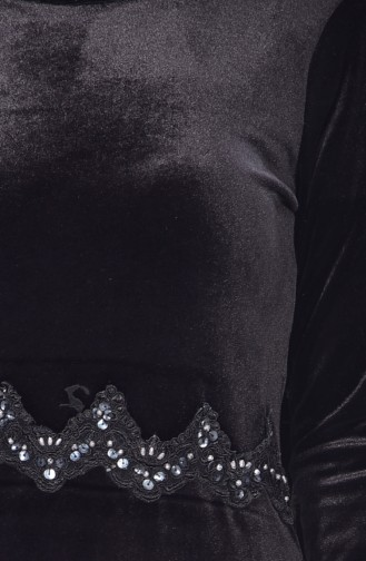 Lace Detailed Dress 1002-04 Black 1002-04