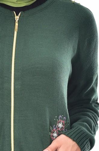 Strickpullover mit Stickerei 7481-06 Smaragdgrün 7481-06