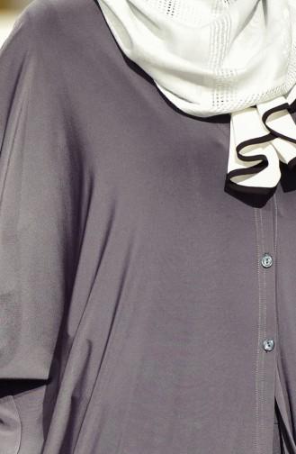 Weite Jacke mit Knöpfen 1005-01 Rauchgrau 1005-01