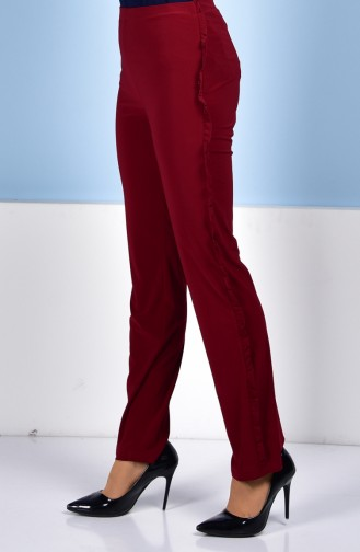 Ruffle Detailed Pants 1019-01 Claret red 1019-01