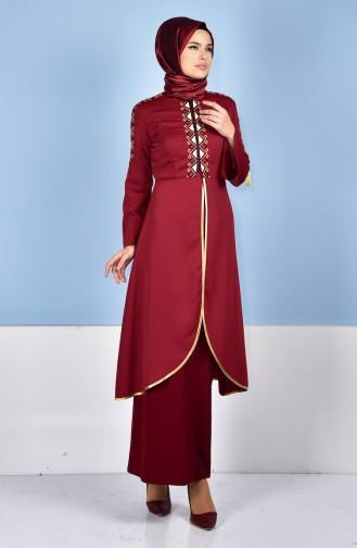 فستان يومي للمحجبات لون خمري 5000-03