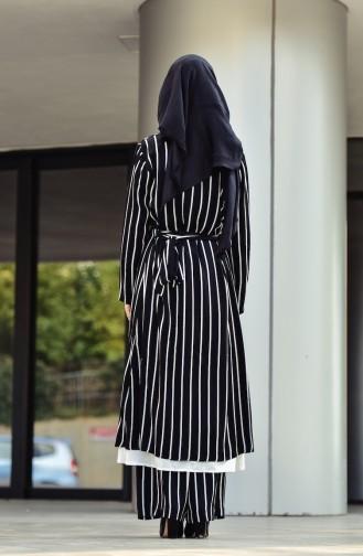 Striped Long Jacket 1008-01 Black 1008-01