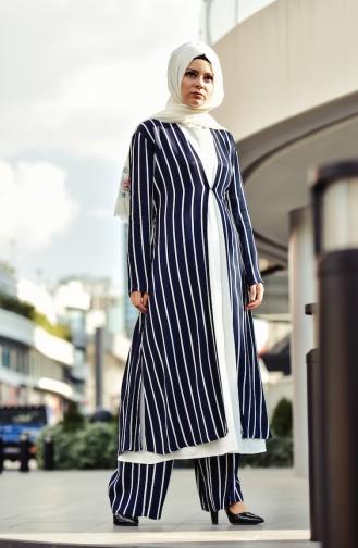 Veste Longue a Rayure 1008-03 Bleu Marine 1008-03