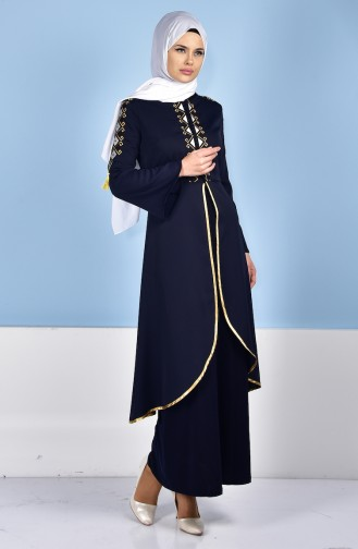 Robe Caftan Bordée 5000-01 Bleu Marine 5000-01