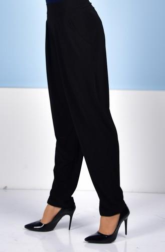 High Waist Pleated Trousers 1014-01 Black 1014-01