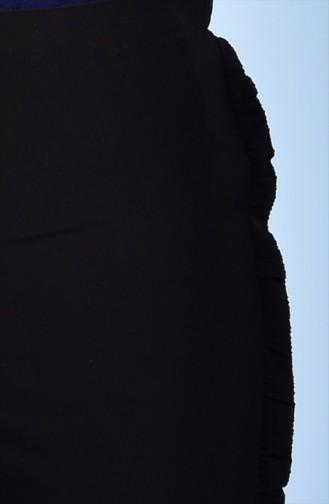 Pantalon Détail Froufrous 1019-02 Noir 1019-02