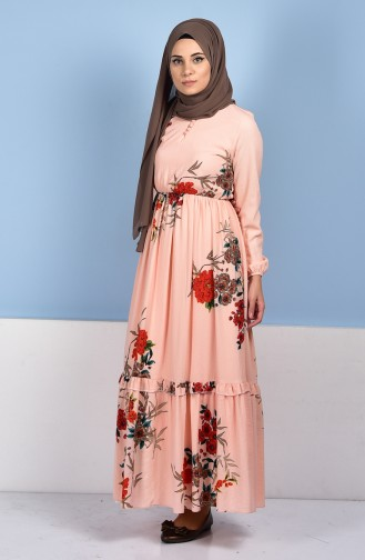 Robe a Motifs Fleurs 0716-03 Rose 0716-03