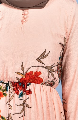 Blumen Gemustertes Kleid 0716-03 Pink 0716-03
