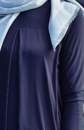 Asymmetrisches Tunika mit Chiffon Detail 1016-03 Rauchgrau 1016-03