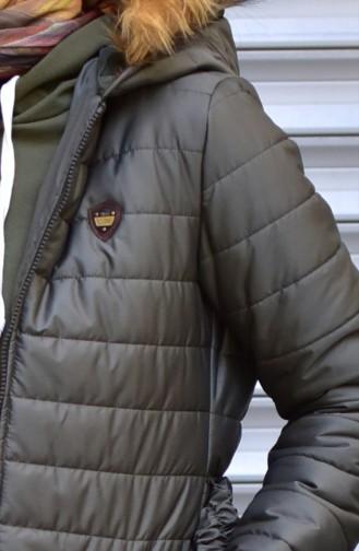 Belt Zippered Coats 1908-01 Khaki 1908-01