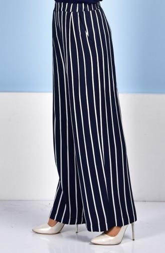 Pantalon a Rayure 1006-01 Bleu Marine Ecru 1006-01