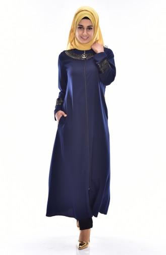 Abaya Fermeture a Glissiere 99106-01 Bleu Marine 99106-01