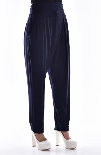High Waist Pleated Trousers 1014-02 Navy Blue 1014-02
