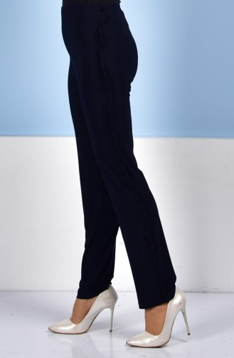 Ruffle Detailed Pants 1019-04 Navy Blue 1019-04