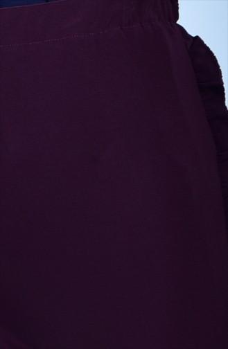 Fırfır Detaylı Pantolon 1019-03 Mor