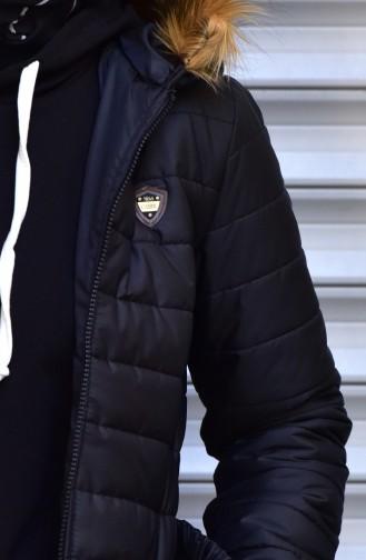 Belt Zippered Coat 1908-04 Black 1908-04