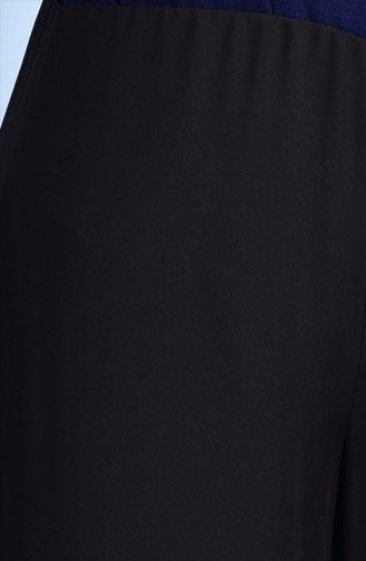 بنطال شيفون بتصميم واسع 1012-01 لون أسود 1012-01