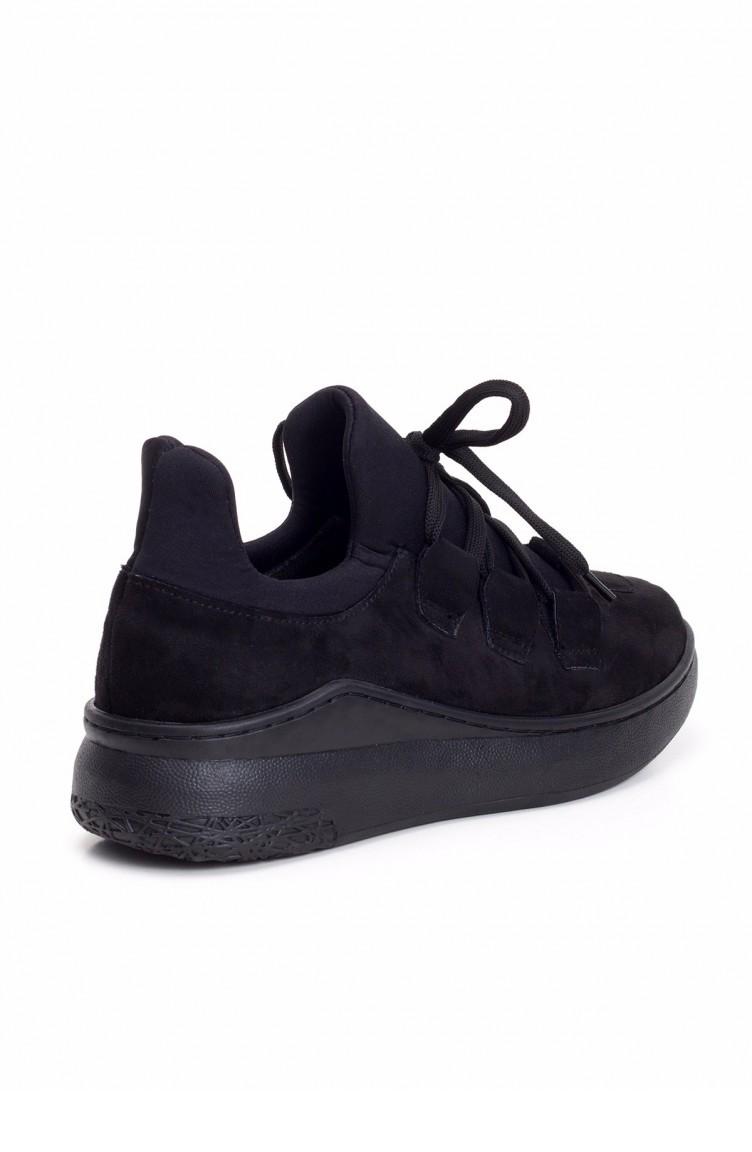 2fb5464e5007d Öme Siyah Süet Bağcıklı Bayan Spor Ayakkabı