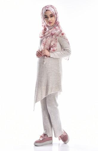 Asymmetric Tunic Pants Binary Suit 1932-04 Beige 1932-04