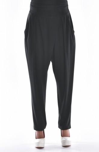 Yüksek Bel Pileli Pantolon 1014-03 Füme