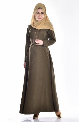 Sefamerve Kemerli Elbise 3951-08 Haki Yeşil 3951-08