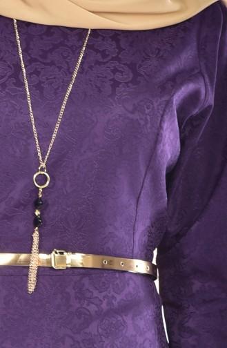 Sefamerve Kemerli Elbise 3951-07 Koyu Mor