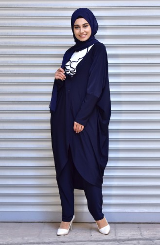 Buttoned Long Jacket 1005-03 Navy Blue 1005-03