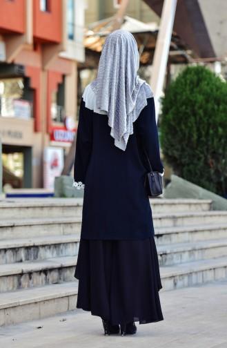Tunique Garnie Col Cravate 1003-01 Ecru Noir 1003-01