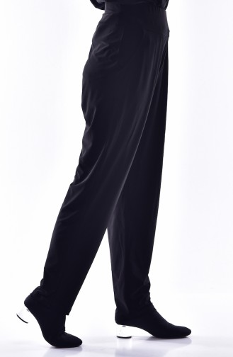 Gefaltete Hose mit Tasche 1013-02 Schwarz 1013-02