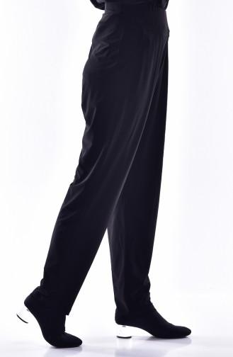 Pantalon Plissé avec Poches 1013-02 Noir 1013-02