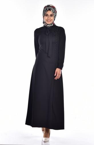 فستان بتصميم ياقة برباط وتفاصيل من الؤلؤ 4417-03