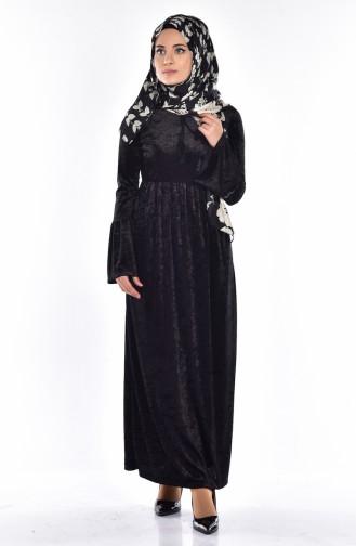 İspanyol Kol Kadife Elbise 6124-01 Siyah
